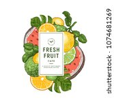 fresh fruit design template.... | Shutterstock .eps vector #1074681269