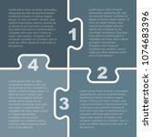 four pieces puzzle squares... | Shutterstock .eps vector #1074683396