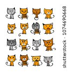 cats collection  sketch for...   Shutterstock .eps vector #1074690668