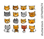 cat faces  sketch for your...   Shutterstock .eps vector #1074690674