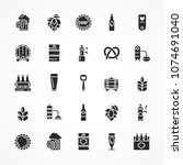 set of black beer icons... | Shutterstock .eps vector #1074691040