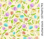 seamless colorful floral... | Shutterstock .eps vector #1074691793