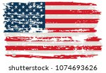 grunge american flag.united... | Shutterstock .eps vector #1074693626