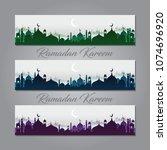 ramadan banner background...   Shutterstock .eps vector #1074696920
