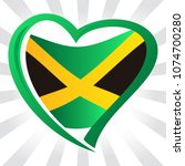 jamaica flag in shape of heart | Shutterstock .eps vector #1074700280