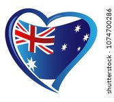 australia flag in shape of heart | Shutterstock .eps vector #1074700286