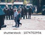 santiago  chile   april 19 ... | Shutterstock . vector #1074702956