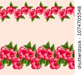 cute simple floral border.... | Shutterstock .eps vector #1074705548