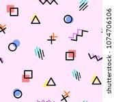 memphis style geometric... | Shutterstock .eps vector #1074706106
