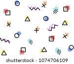 memphis style geometric pattern ... | Shutterstock .eps vector #1074706109