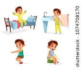 vector cartoon boy daily...   Shutterstock .eps vector #1074708170