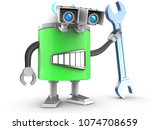 3d illustration of robot with... | Shutterstock . vector #1074708659