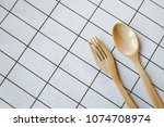 top view of wooden spoon and... | Shutterstock . vector #1074708974