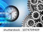 3d illustration of clock over... | Shutterstock . vector #1074709409