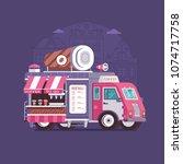 retro coffee van in flat design.... | Shutterstock .eps vector #1074717758