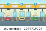 cartoon pay road toll card... | Shutterstock .eps vector #1074719729