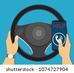 roadside assistance in car | Shutterstock .eps vector #1074727904