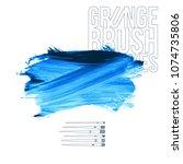 blue brush stroke and texture.... | Shutterstock .eps vector #1074735806