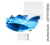 blue brush stroke and texture.... | Shutterstock .eps vector #1074735836