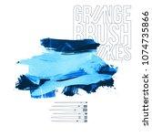 blue brush stroke and texture.... | Shutterstock .eps vector #1074735866