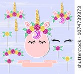 vector set with unicorn  tiara  ...   Shutterstock .eps vector #1074739373