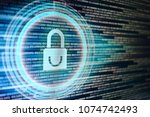 padlock icon on led computer... | Shutterstock . vector #1074742493
