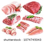 collection of meat. beef  pork  ... | Shutterstock . vector #1074745043