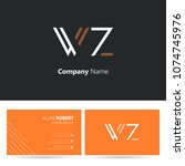 w   z line logo stroke letter...   Shutterstock .eps vector #1074745976