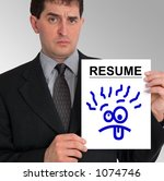 Small photo of Image of a businessman holding a resume to his left, against a grey gradient background. The resume has a blue cartoon drawing of a silly face on it.