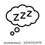 sleeping  zzz or slumber in... | Shutterstock .eps vector #1074751979