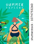 woman explores tropical canal... | Shutterstock .eps vector #1074753260