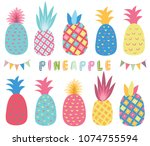 colorful tropicana pineapple... | Shutterstock .eps vector #1074755594