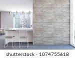 white kitchen interior with a... | Shutterstock . vector #1074755618