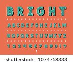 bright font. vector alphabet... | Shutterstock .eps vector #1074758333