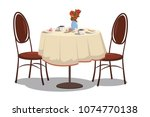 modern restaurant table with... | Shutterstock .eps vector #1074770138