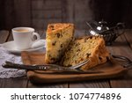 cup of coffee and slices of... | Shutterstock . vector #1074774896