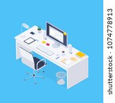 isometric concept workplace. 3d ... | Shutterstock .eps vector #1074778913