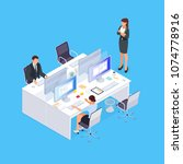 isometric concept of office... | Shutterstock .eps vector #1074778916