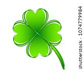 four leaf green clover hand... | Shutterstock .eps vector #1074779984