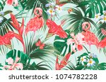 floral seamless vector tropical ... | Shutterstock .eps vector #1074782228