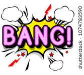 bang   retro lettering with... | Shutterstock . vector #1074783590