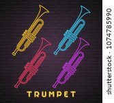 trumpet icon set neon light... | Shutterstock .eps vector #1074785990