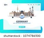 germany. travel banner or web... | Shutterstock .eps vector #1074786500