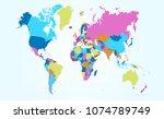 color world map vector | Shutterstock .eps vector #1074789749