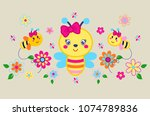 funny bees surrounded the flower | Shutterstock .eps vector #1074789836