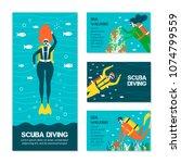 diving people cards. underwater ... | Shutterstock .eps vector #1074799559