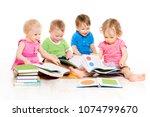 children reading books  babies... | Shutterstock . vector #1074799670
