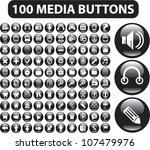 100 black glossy media buttons...
