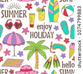 seamless pattern with summer... | Shutterstock .eps vector #1074799883