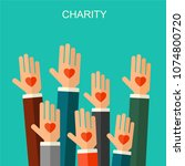charity and donation concept.... | Shutterstock . vector #1074800720